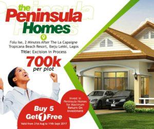 Land for sale in Peninsula Homes estate Ibeju Lekki