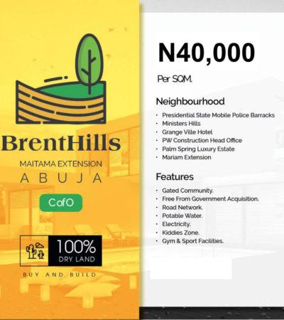 For Sale: Buy Land In BrentHills Estate Maitama Extension Abuja